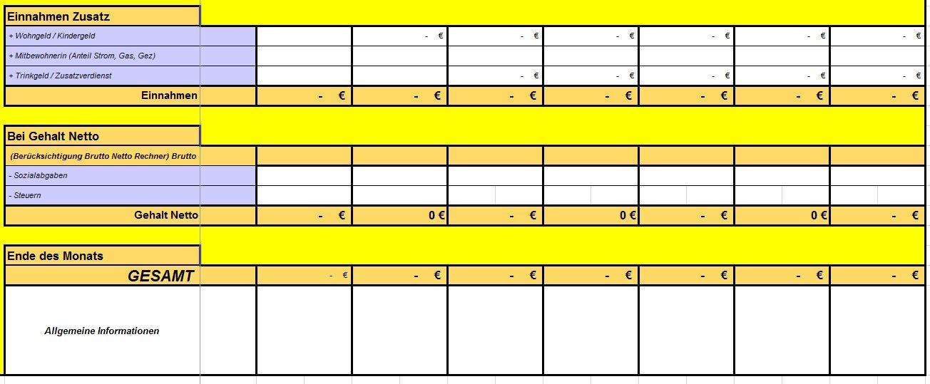 Excel-Vorlage zur Berechnung der privaten Haushaltskasse