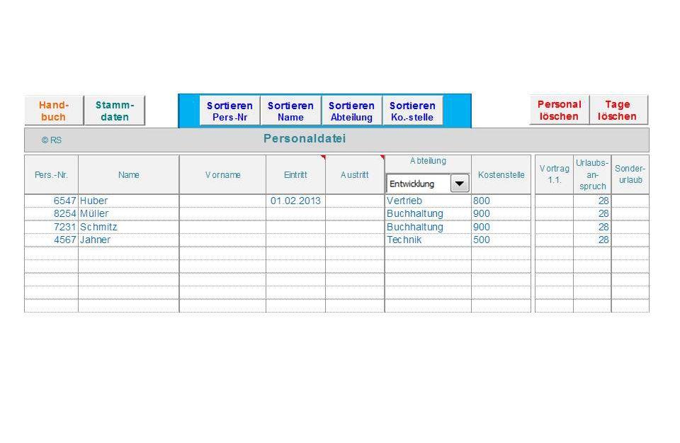 Excel-Tool für Urlaubsplanung, Jahresplanung, Arbeitszeit