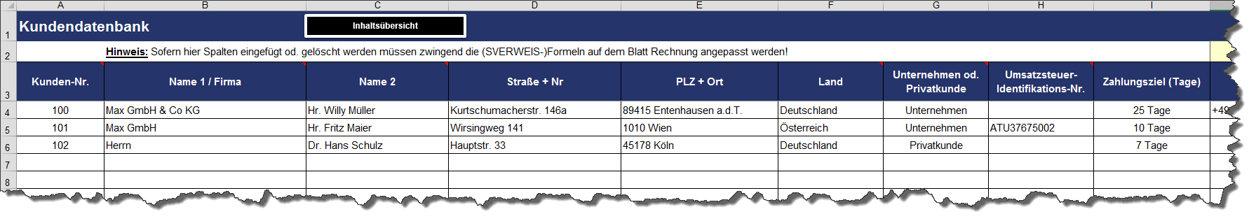 Excel Rechnungserstellung