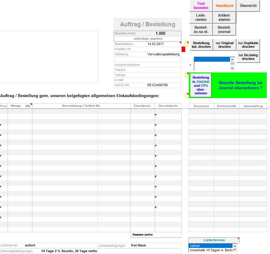 Excel-Vorlage: Einkauf bzw. Bestell- und Lieferantenverwaltung