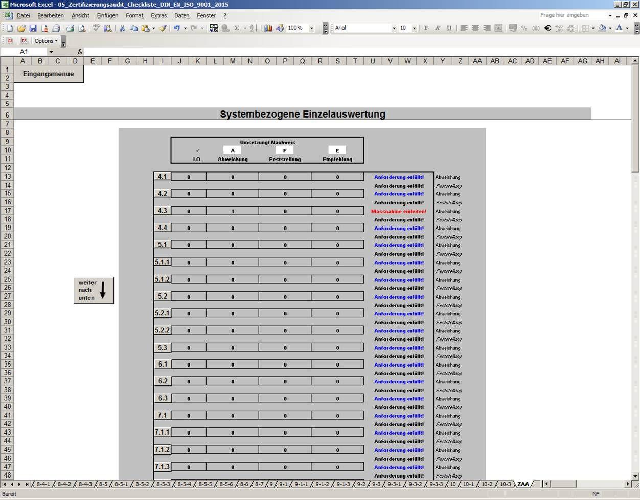 Qualitätsmanagement ISO 9001:2015 - Excel Auditcheckliste