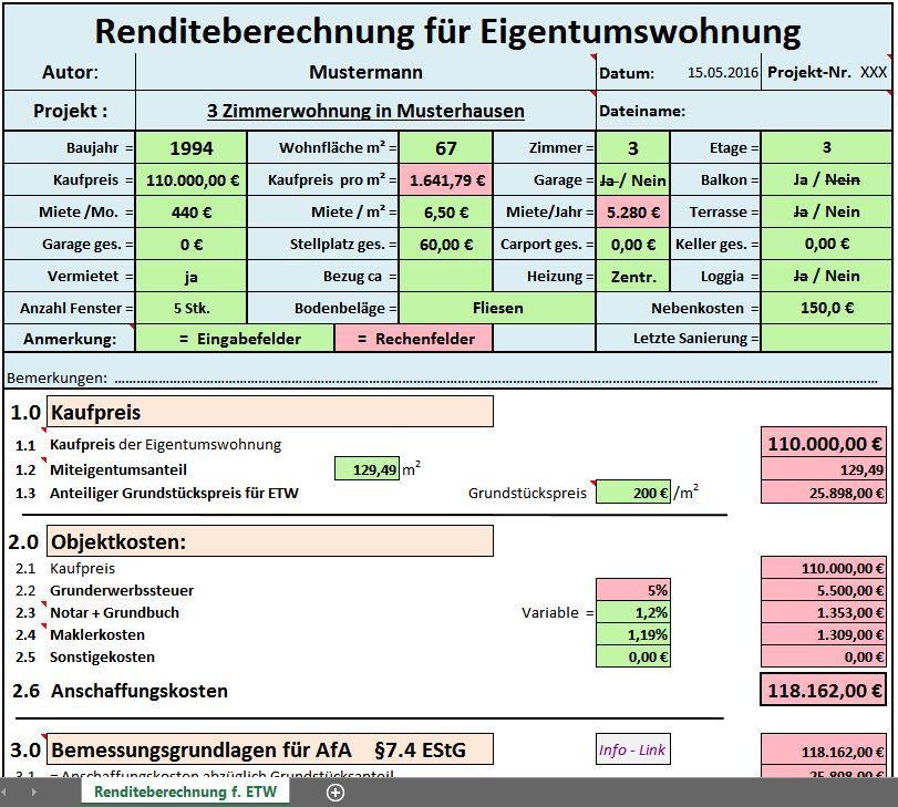Excel Vorlage Rendite Berechnung Für Eigentumswohnung