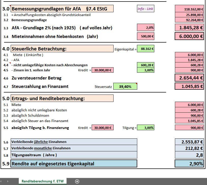 Excel-Vorlage Rendite- Berechnung für Eigentumswohnung