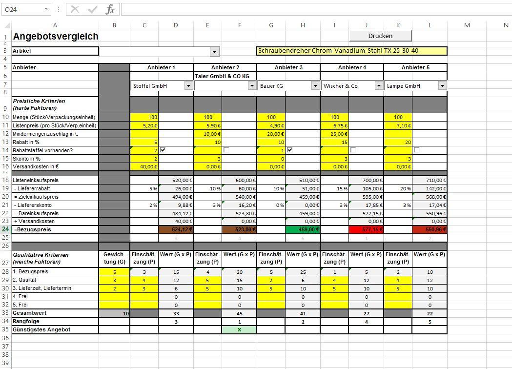 Angebotsvergleich Faktoren Verfahren Excel Tool 13