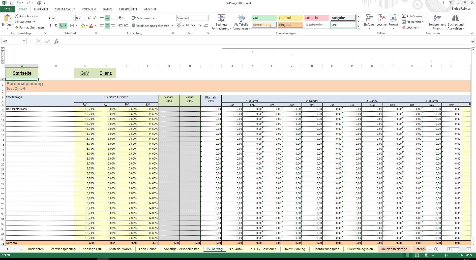 Excel-Tool: RS-Plan - Unternehmensplanung (Planbilanz)
