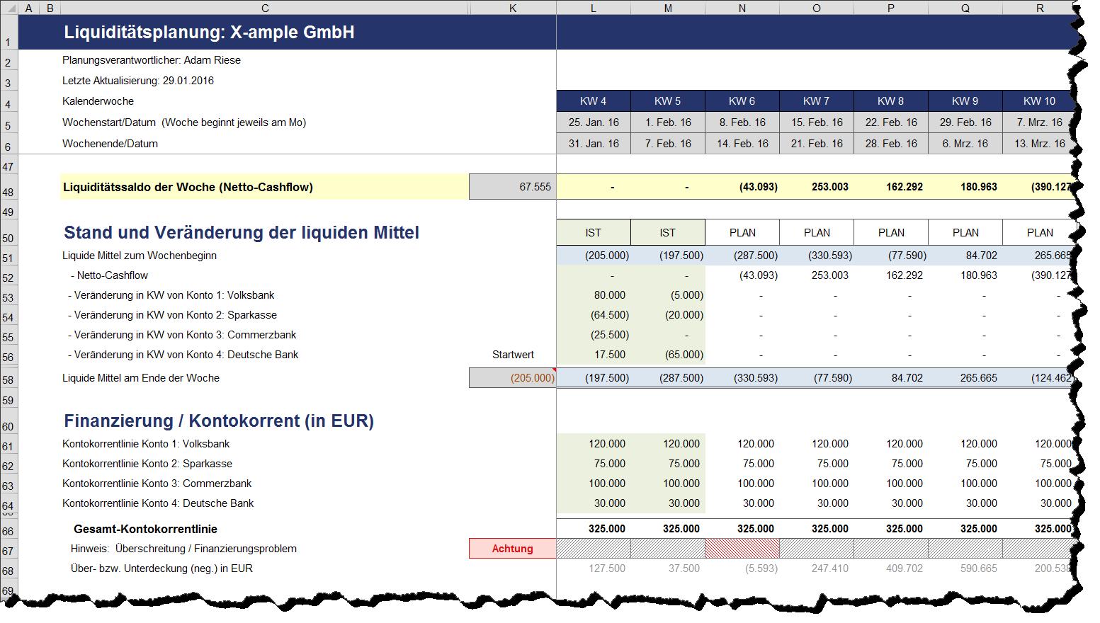 Excel-Vorlage: Rollierende Liquiditätsplanung auf Wochenbasis