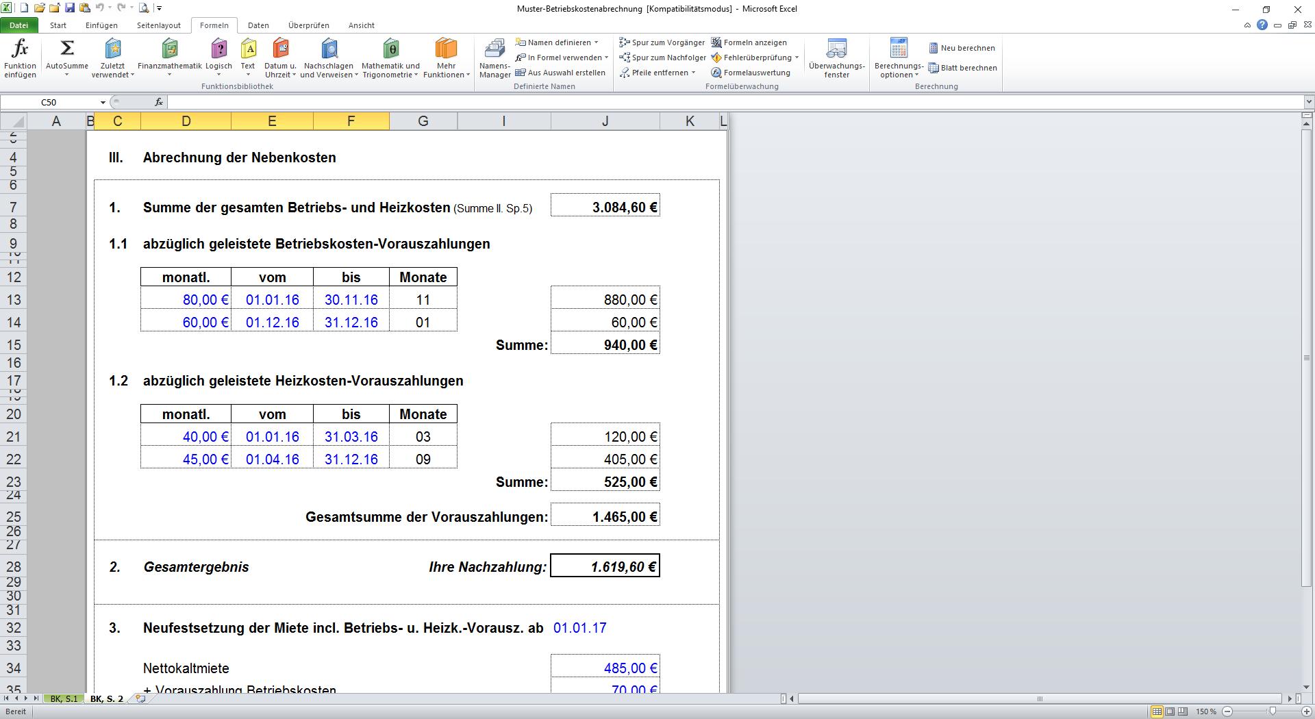 Betriebskostenabrechnung Software Kostenlos : vorlage f r nebenkostenabrechnung nebenkostenabrechnung ~ Michelbontemps.com Haus und Dekorationen