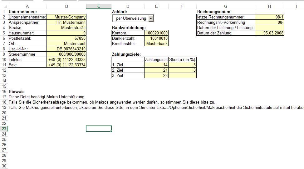 Rechnung (Excel- Vorlage)