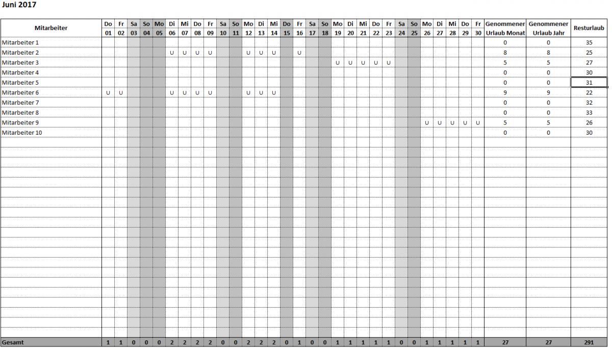 Excel-Tool: Urlaubsplan