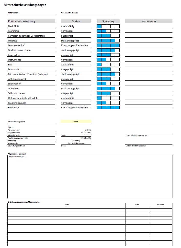 autor - Personalbeurteilungsbogen Muster