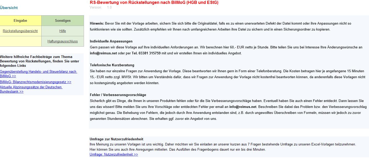 Excel-Vorlage für Rückstellungen nach BilMoG, HGB EStG