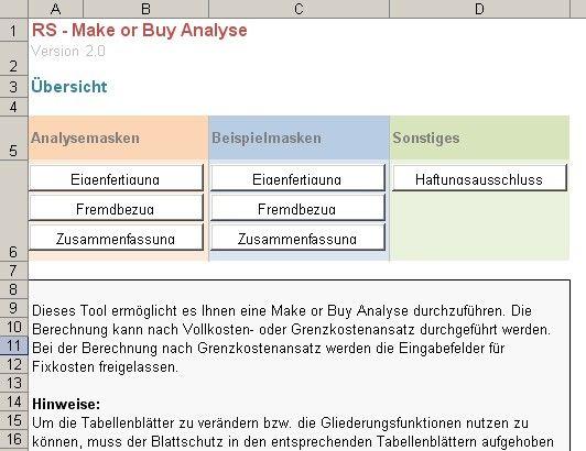 excel tool rs make or buy analyse. Black Bedroom Furniture Sets. Home Design Ideas
