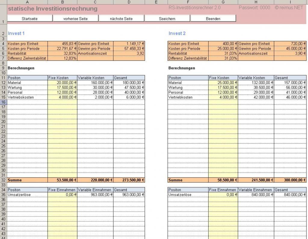 Excel Tool Für Investitionsrechnung Kapitalwert Interner Zinsfuss