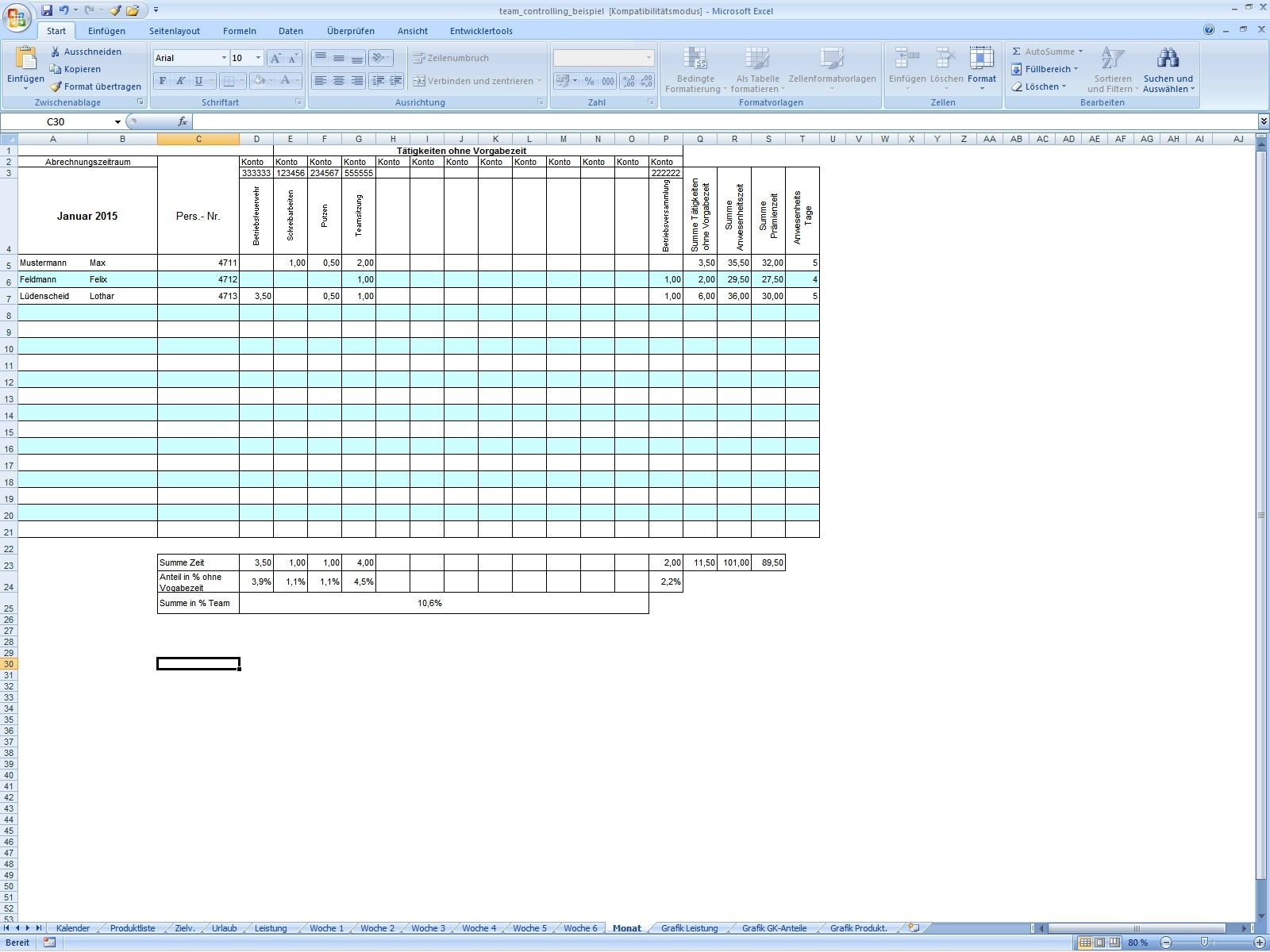Excel-Vorlage: Team-Controlling