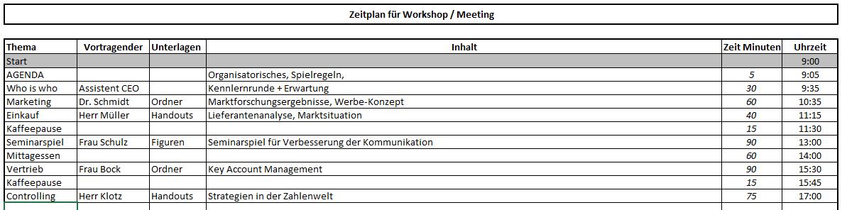 Zeitplan Meeting (Excel-Vorlage)