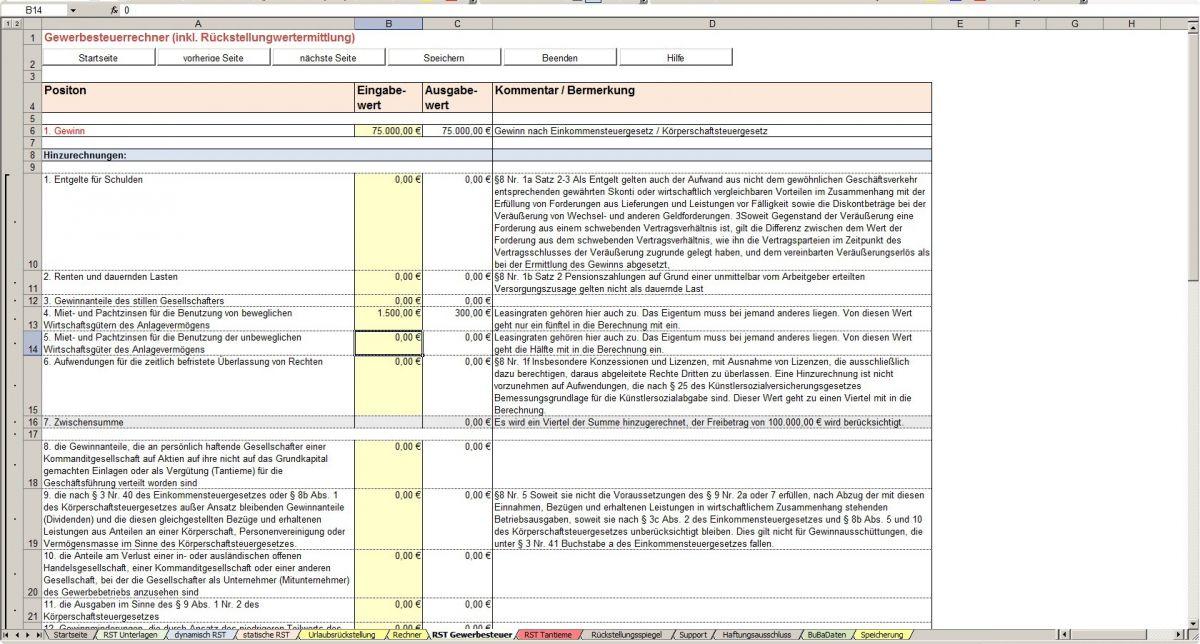 Excel Vorlage R 252 Ckstellungen Im Unternehmen Leicht Berechnen