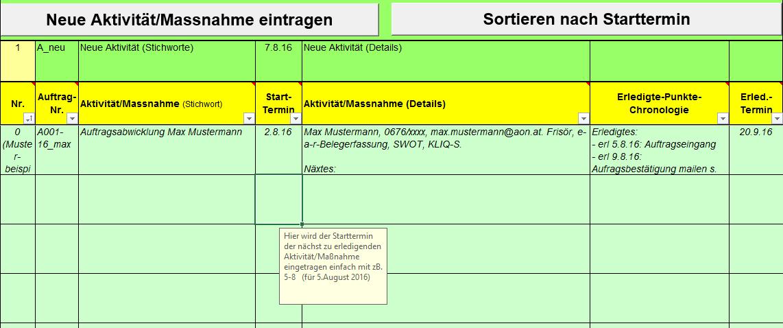Excel-Vorlage eVAMP für Aufgaben erfassen und steuern