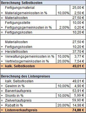 preiskalkulation selbstkosten bis listenverkaufspreis - Kostentragerrechnung Beispiel